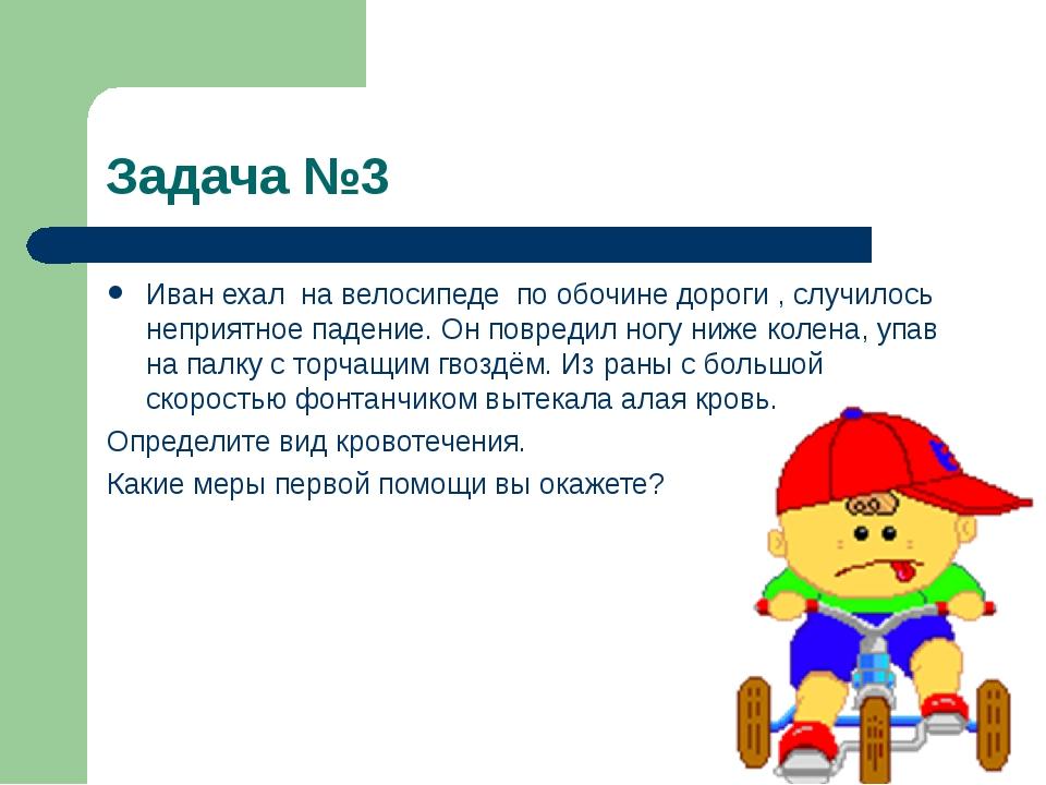 Задача №3 Иван ехал на велосипеде по обочине дороги , случилось неприятное па...