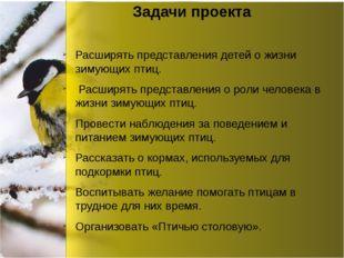 Задачи проекта Расширять представления детей о жизни зимующих птиц. Расширят
