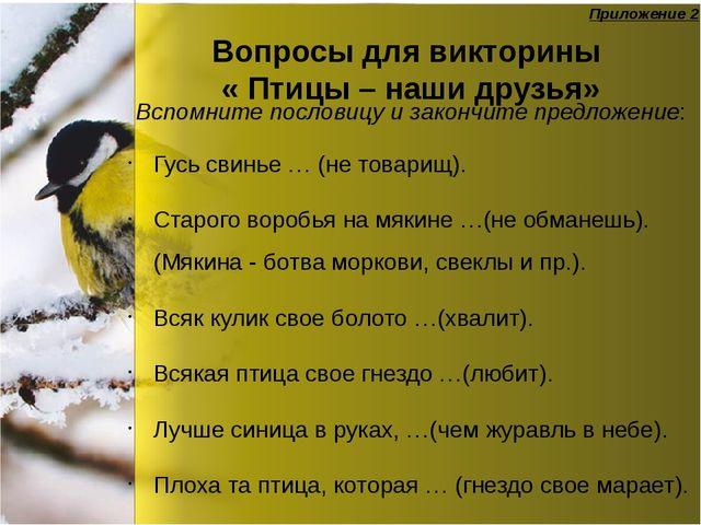 Вопросы для викторины « Птицы – наши друзья» Гусь свинье … (не товарищ). Стар...