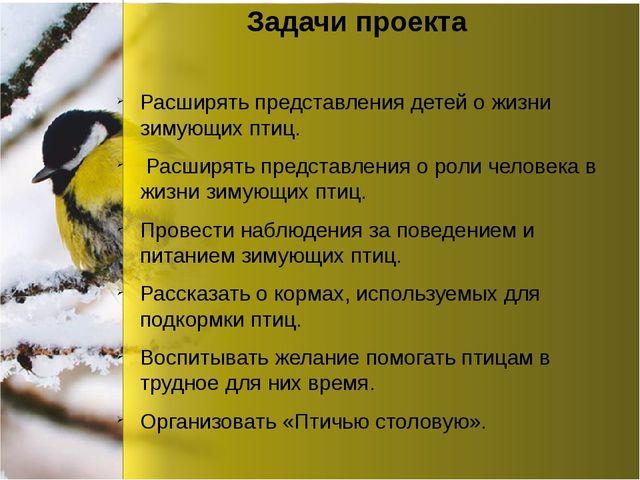 Задачи проекта Расширять представления детей о жизни зимующих птиц. Расширят...