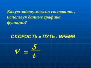 СКОРОСТЬ = ПУТЬ : ВРЕМЯ V S t = Какую задачу можно составить , используя данн