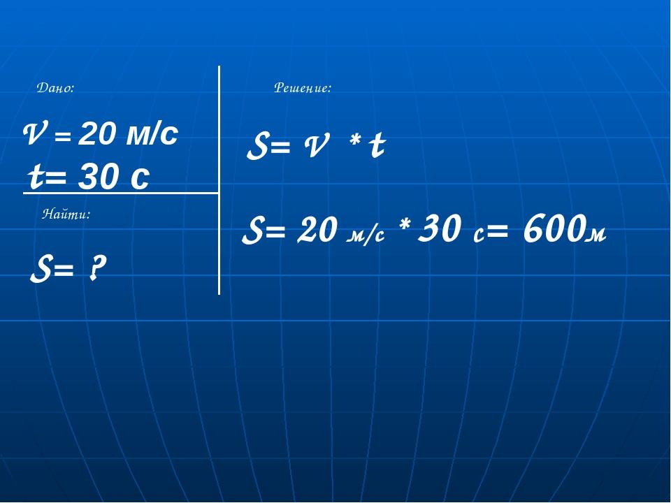 V = 20 м/с S= ? t= 30 с Дано: Найти: Решение: S= V * t S= 20 м/с * 30 с= 600м