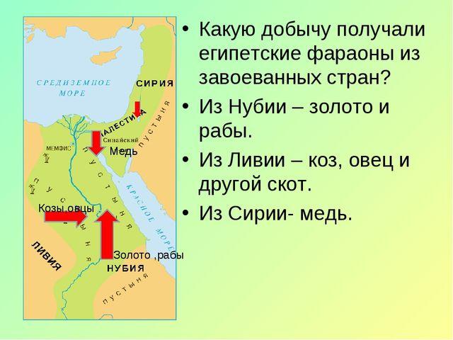 Какую добычу получали египетские фараоны из завоеванных стран? Из Нубии – зол...