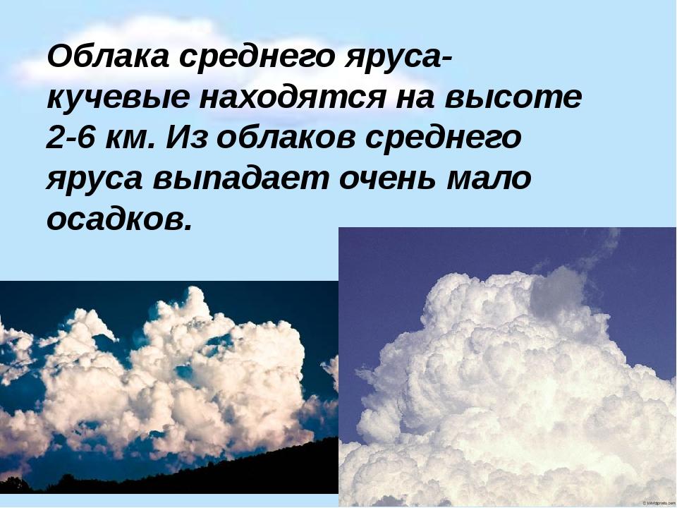 Облака среднего яруса-кучевые находятся на высоте 2-6 км. Из облаков среднего...