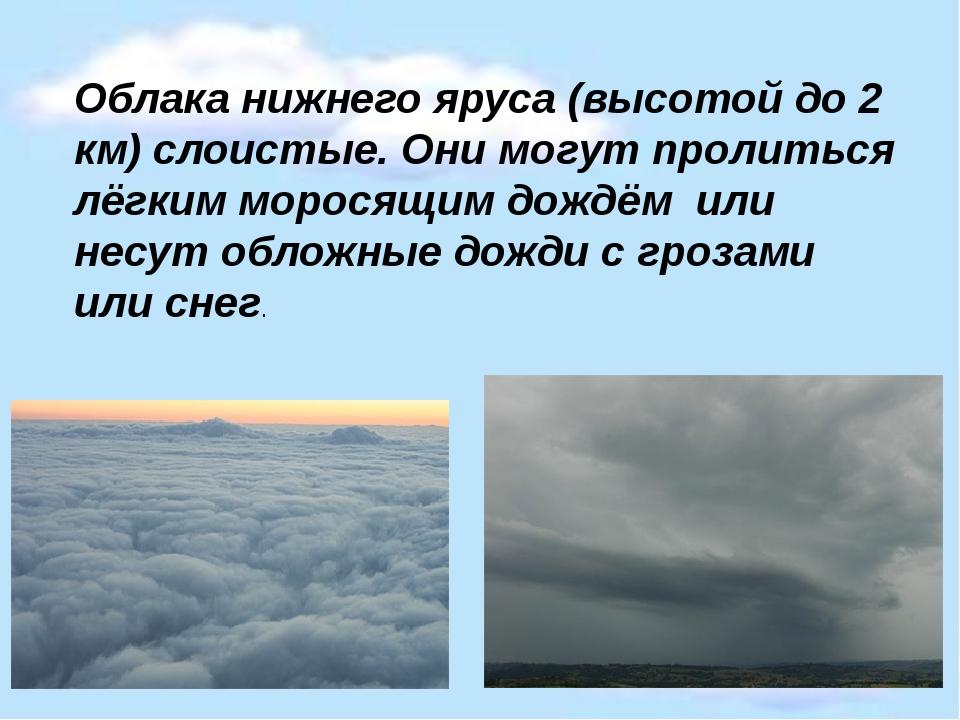 Облака нижнего яруса (высотой до 2 км) слоистые. Они могут пролиться лёгким м...