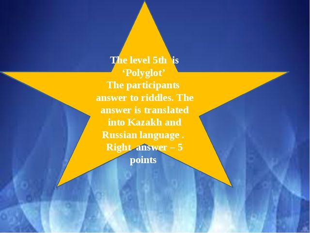 The level 5th is 'Polyglot' The participants answer to riddles. The answer i...