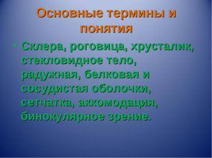 Основные термины и понятия Склера, роговица, хрусталик, стекловидное тело, ра
