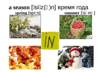 a season [ˈsiːz(ə)n] время года spring [sprɪŋ] summer [ˈsʌmə] autumn [ˈɔːtəm]