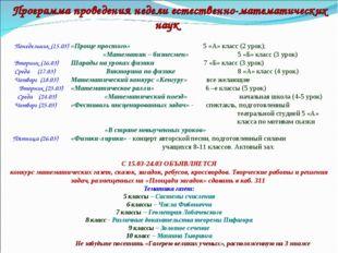 Программа проведения недели естественно-математических наук   Понедельник (