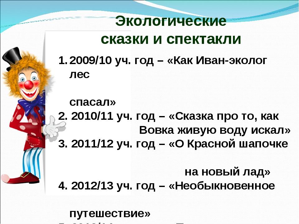 Экологические сказки и спектакли 2009/10 уч. год – «Как Иван-эколог лес спаса...