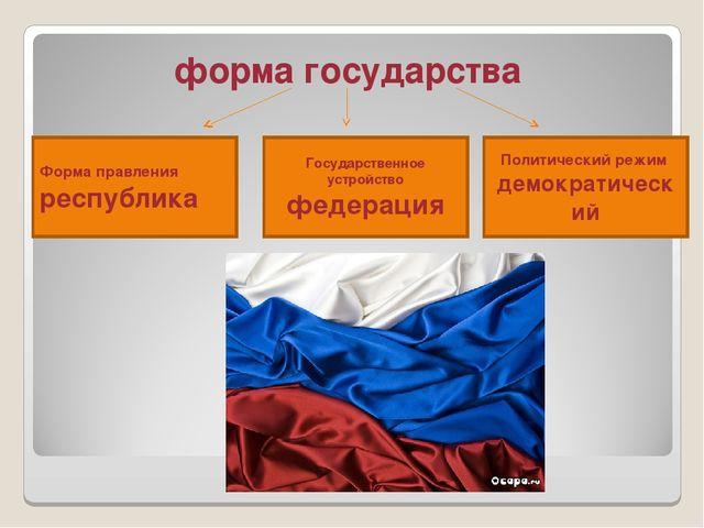 форма государства Форма правления республика Государственное устройство феде...