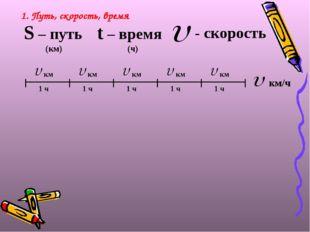 1. Путь, скорость, время S – путь (км) t – время (ч) - скорость км/ч
