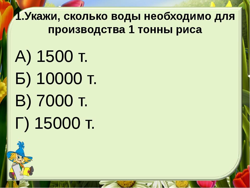 1.Укажи, сколько воды необходимо для производства 1 тонны риса А) 1500 т. Б)...