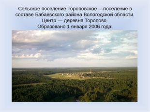 Сельское поселение Тороповское —поселение в составе Бабаевского района Волого