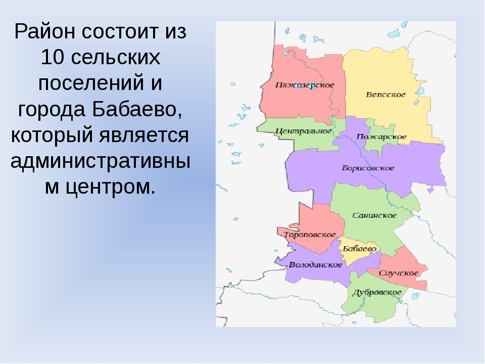 Район состоит из 10 сельских поселений и города Бабаево, который является адм...