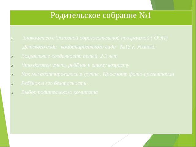 Родительское собрание№1 Знакомство с Основнойобразовательнойпрограммой ( ООП)...
