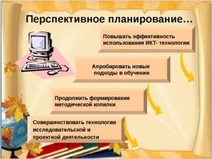 Перспективное планирование… Совершенствовать технологии исследовательской и