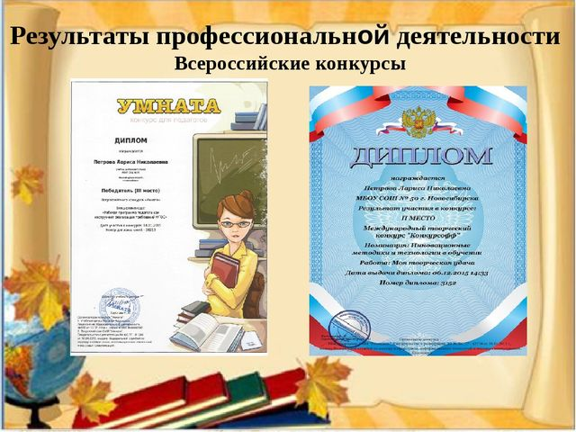 Результаты профессиональной деятельности Всероссийские конкурсы