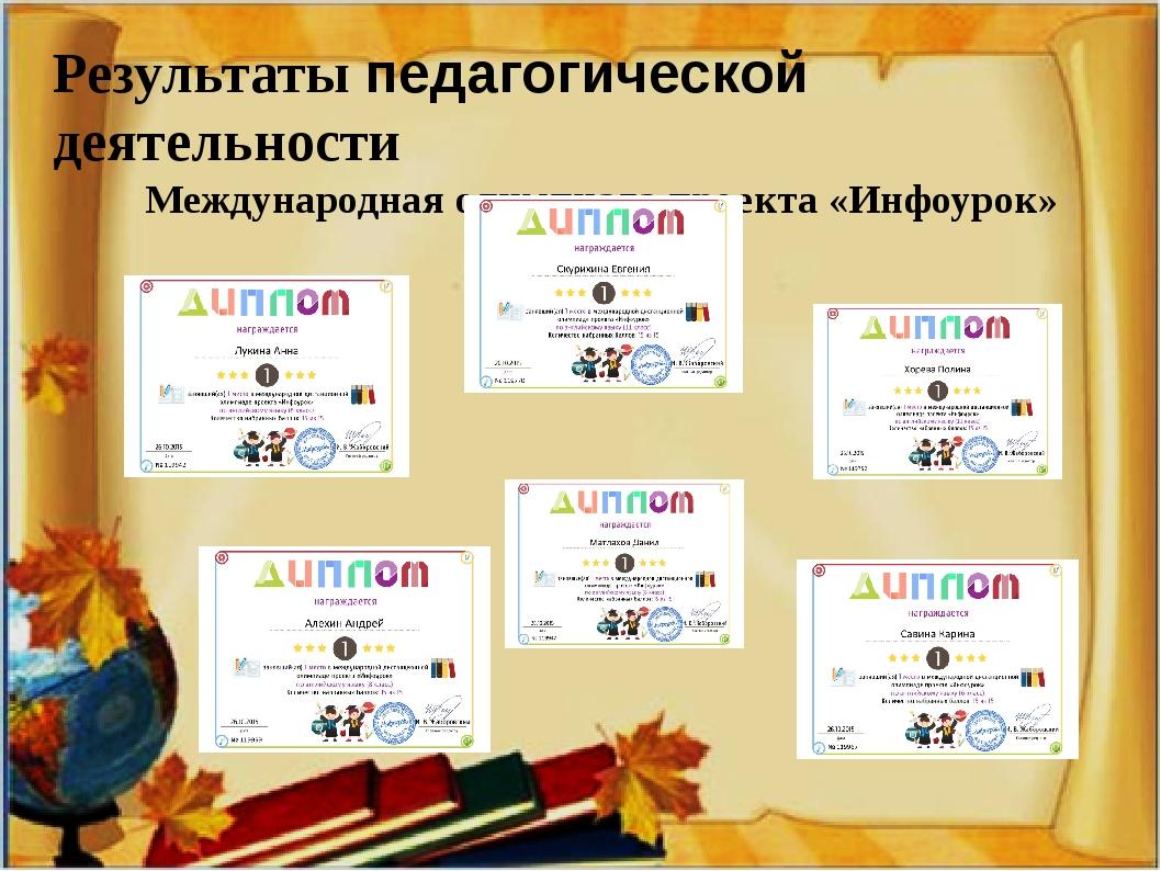 Результаты педагогической деятельности Международная олимпиада проекта «Инфо...