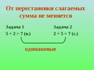 От перестановки слагаемых сумма не меняется Задача 1 5 + 2 = 7 (в.) Задача 2