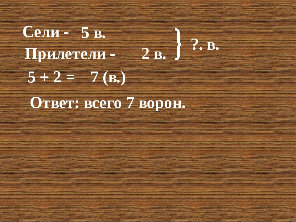 Сели - Прилетели - 5 в. 2 в. ?. в. 5 + 2 = 7 (в.) Ответ: всего 7 ворон.