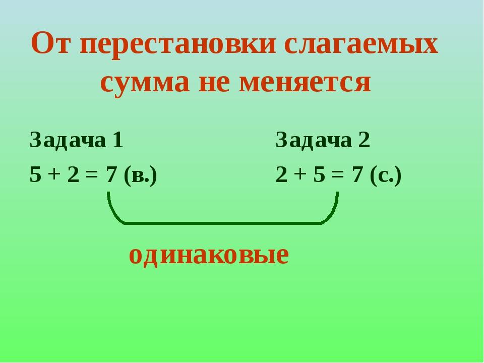От перестановки слагаемых сумма не меняется Задача 1 5 + 2 = 7 (в.) Задача 2...