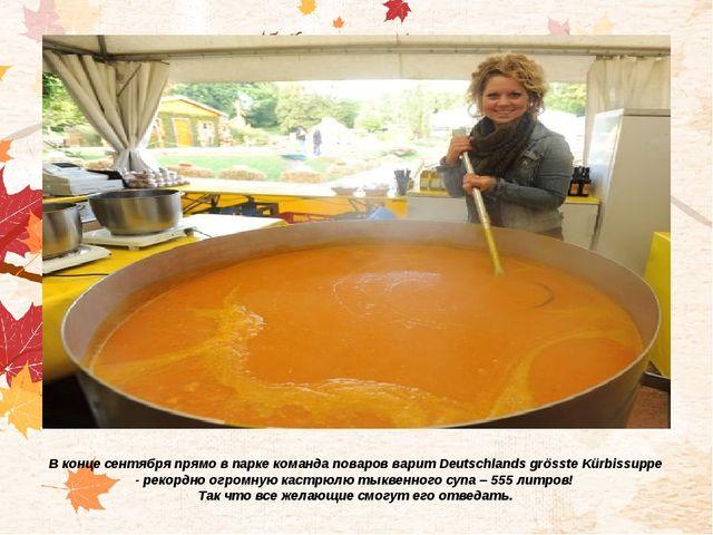 В конце сентября прямо в парке команда поваров варит Deutschlands grösste Kür...