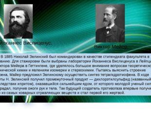 Йоханнес Вислиценус. Виктор Мейер. В 1885 Николай Зелинский был командирован