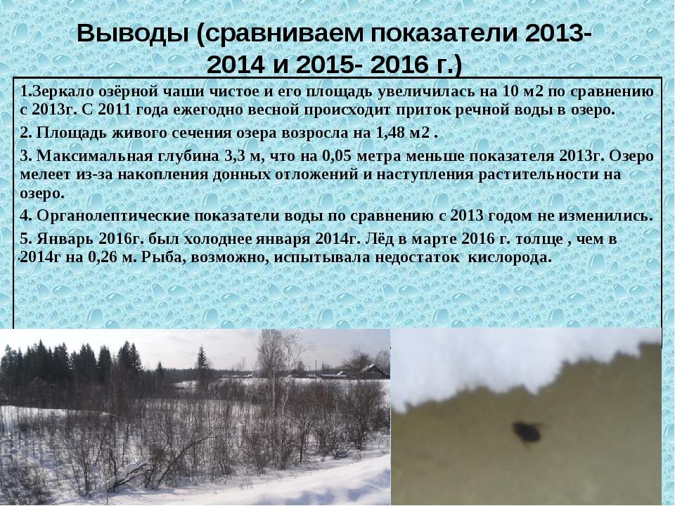 . Выводы (сравниваем показатели 2013-2014 и 2015- 2016 г.) 1.Зеркало озёрной...