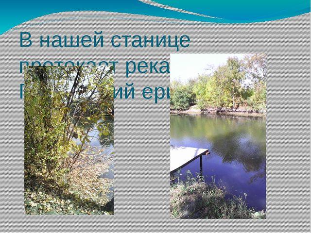 В нашей станице протекает река Полтавский ерик.
