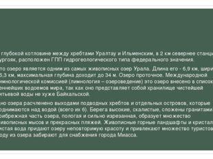 В глубокой котловине между хребтами Уралтау и Ильменским, в 2км севернее ст