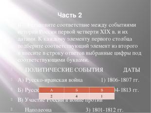 Часть 2 В7. Установите соответствие между событиями истории России первой чет