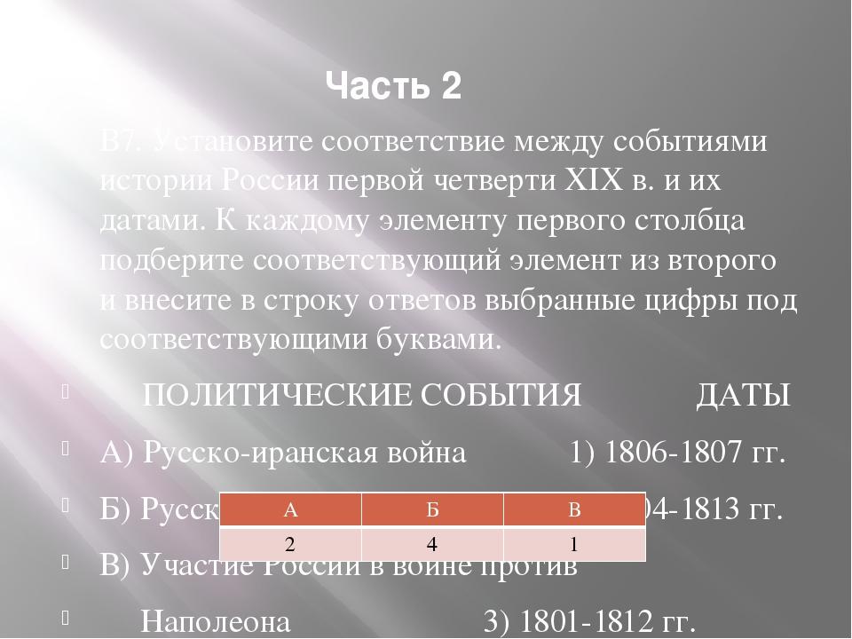 Часть 2 В7. Установите соответствие между событиями истории России первой чет...