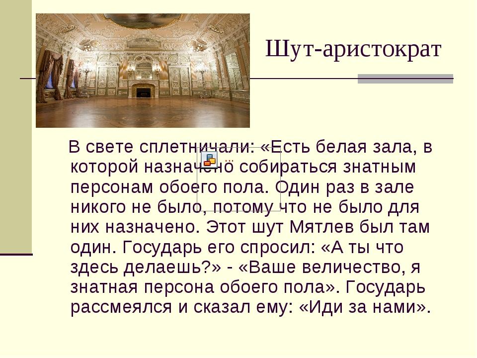 Шут-аристократ В свете сплетничали: «Есть белая зала, в которой назначено соб...