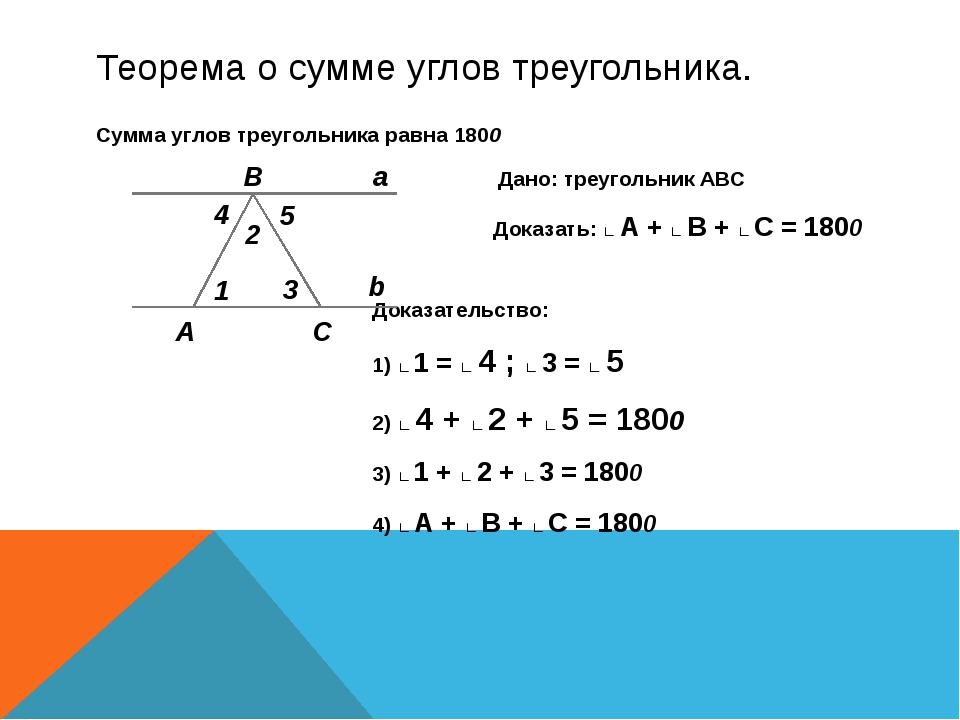 Теорема о сумме углов треугольника. Сумма углов треугольника равна 1800 Дано:...