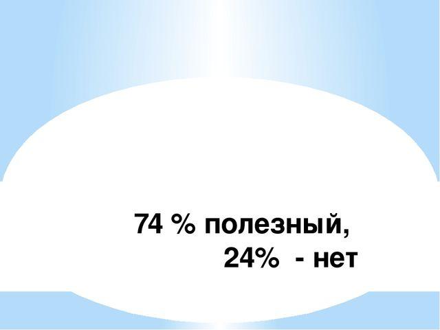 74 % полезный, 24% - нет
