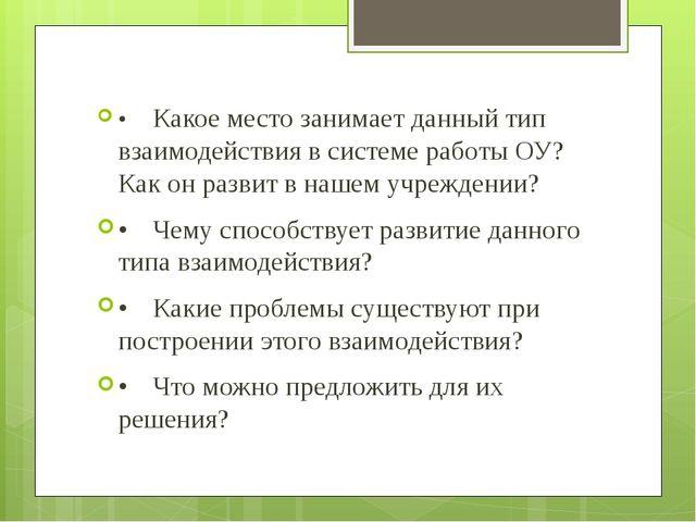 •Какое место занимает данный тип взаимодействия в системе работы ОУ? Как он...