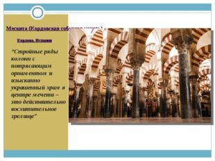 """Мескита (Кордовская соборная мечеть) Кордова, Испания """"Стройные ряды колонн с"""