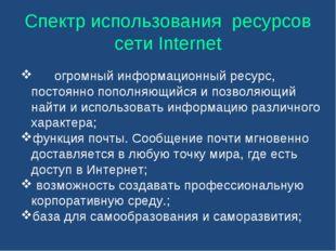 Спектр использования ресурсов сети Internet огромный информационный ресурс,