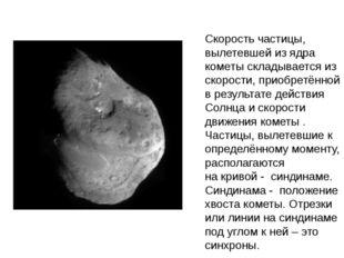 Скорость частицы, вылетевшей из ядра кометы складывается из скорости, приобре