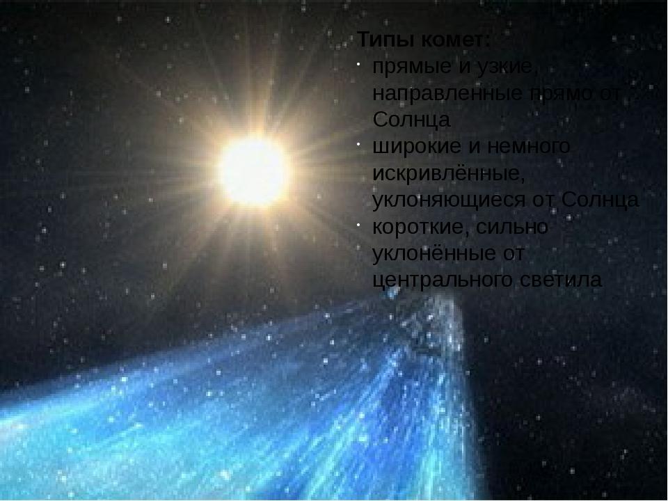 Типы комет: прямые и узкие, направленные прямо от Солнца широкие и немного ис...