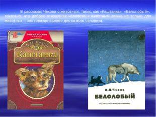 В рассказах Чехова о животных, таких, как «Каштанка», «Белолобый», показано,
