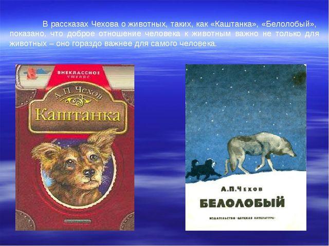В рассказах Чехова о животных, таких, как «Каштанка», «Белолобый», показано,...