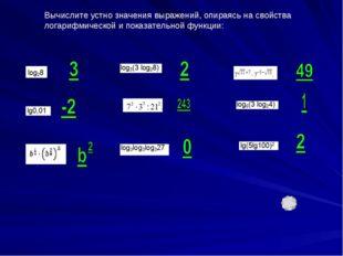 Вычислите устно значения выражений, опираясь на свойства логарифмической и по