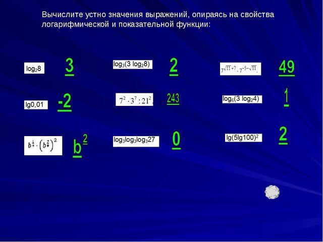 Вычислите устно значения выражений, опираясь на свойства логарифмической и по...