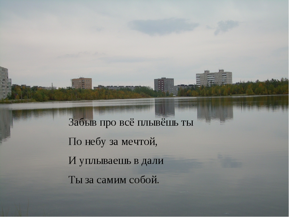 Забыв про всё плывёшь ты По небу за мечтой, И уплываешь в дали Ты за самим со...