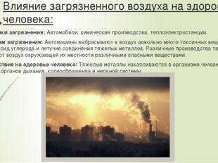 Влияние загрязненного воздуха на здоровье человека: Источники загрязнения:Ав