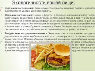 Экологичность вашей пищи: Источники загрязнения:Химические консерванты, пище