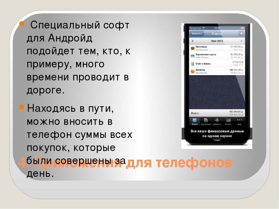 4. Приложения для телефонов Специальный софт для Андройд подойдет тем, кто,...