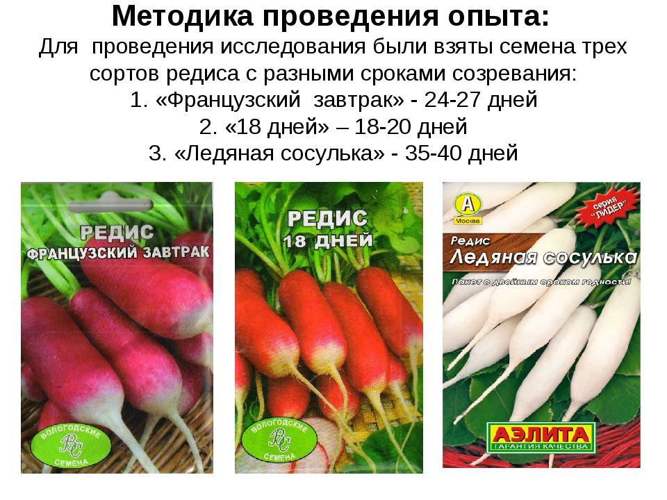 Методика проведения опыта: Для проведения исследования были взяты семена трех...